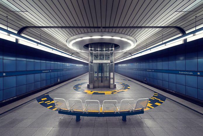"Munich underground station ""Brudermühlstraße"" photographed by artist Nick Frank. Visit his website for more pictures of Munich's U-Bahn."