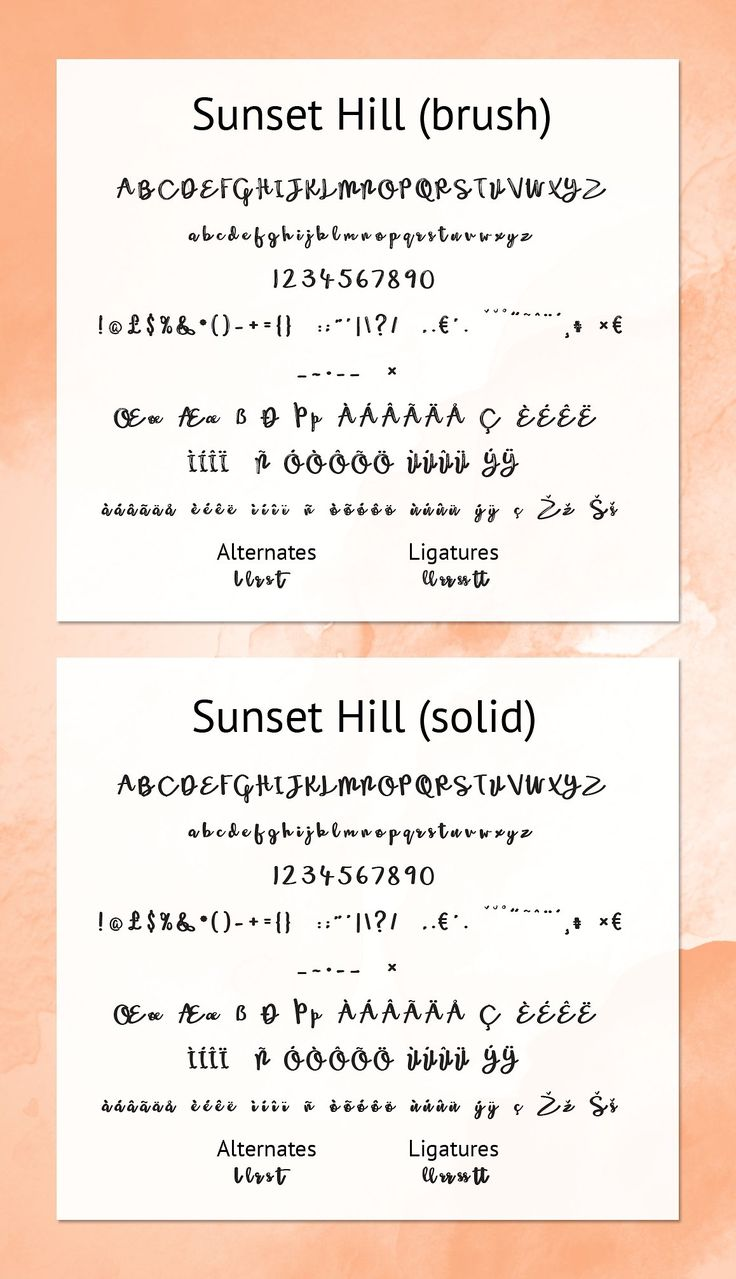 Sunset Hill Brush Font Bundle by Joanne Marie on @creativemarket