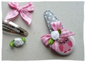Hairclip with owl flatback button | Haarspeldje met uiltjes flatback button www.haarspeldjes-fabriek.nl