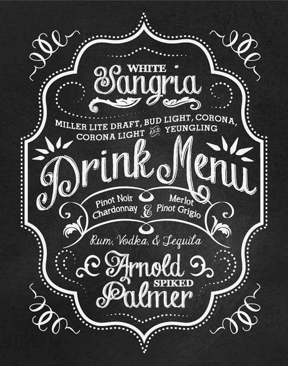 Custom Chalkboard Wedding Reception BAR MENU by SangriaStudios, $25.00