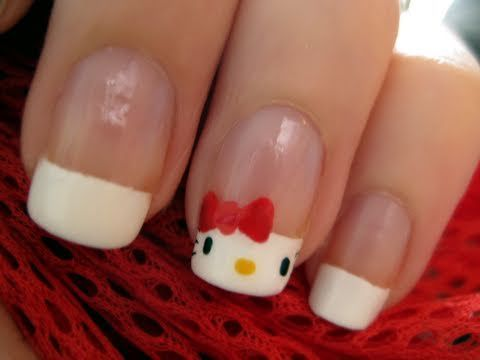 Hello Kitty french manicure: Nails Art, Nails Design, French Manicures, Beautiful, Hello Putty, Kitty French, French Nails, Hello Kitty Nails, Nail Art