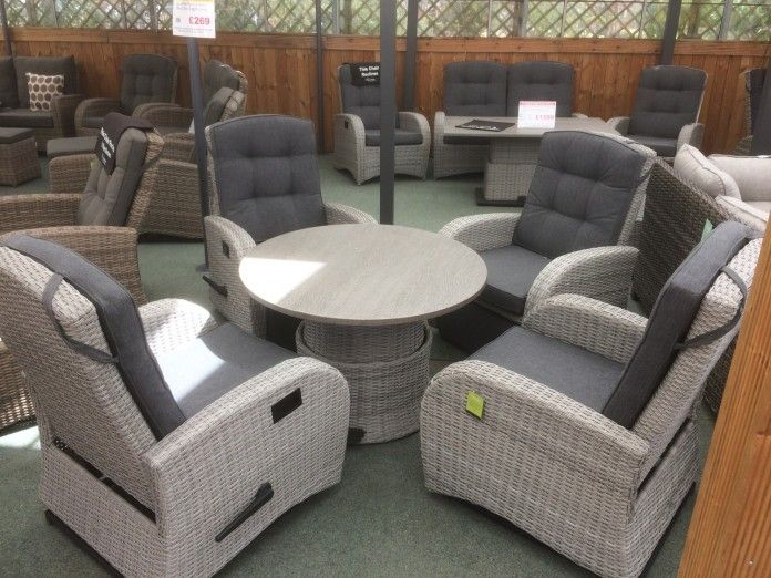 UV stabilised rattan – won't fade, rot or go brittle Strong reclining mechanism Silver grey colour, fits into any style of garden. Dining set, perfect for the patio. Strong aluminium frame – will not rust, easy to move All cushions included Majestique – quality rattan furniture Buy online today   https://www.gardenfurnitureuk.co.uk/all-weather-garden-furniture/4-seater-rocking-and-reclining-dining-set-silver-grey-rattan/