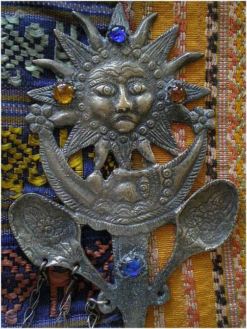 """Awesome Rare PERUVIAN Early 20th-century SUN MOON TUPO Tupu with Dangling Milagro Charms ~ 94 Grams ~ 10"""" Long ~ Museum Quality!"""