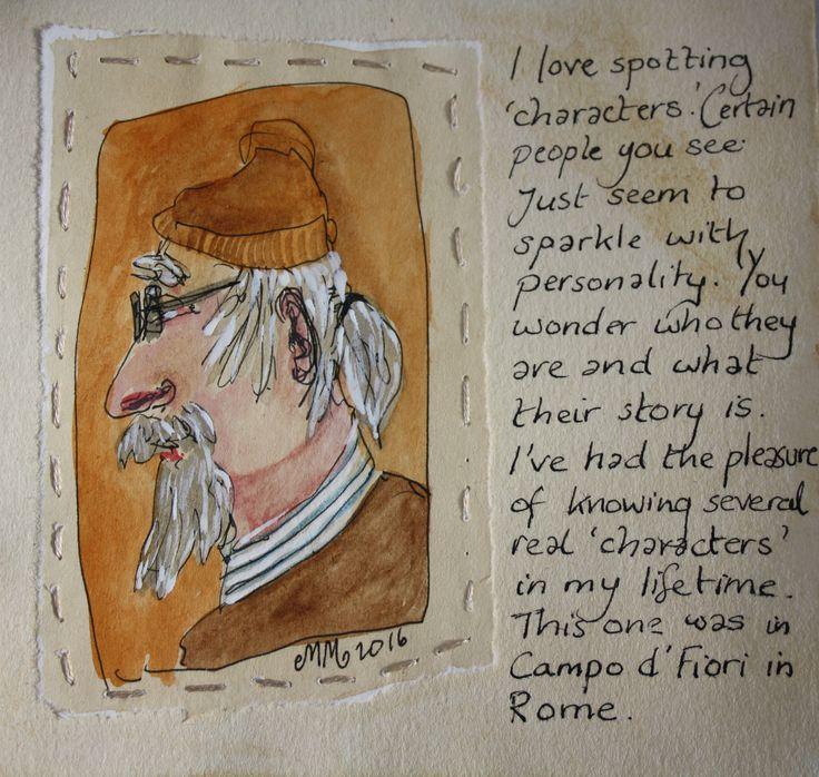 Man in Campo d'Fiori, Rome, watching a courgette 'spaghetti' making demonstration. Julie Massam www.mystasmirror.com