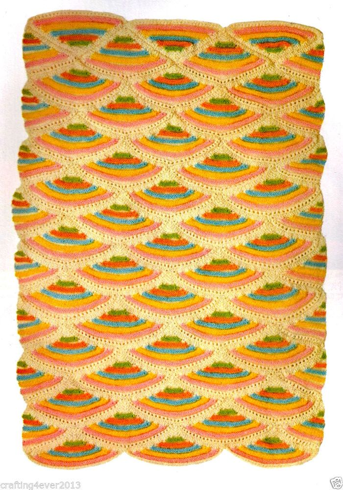 VINTAGE 60S CUMBRIAN BABY COT BLANKET QUILT SIZE 52X82 CMS 4PLY KNITTING PATTERN