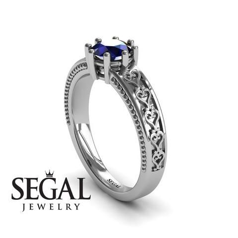 Unique Vintage Engagement ring 14K White Gold Vintage Ring Antique Ring Victorian Ring Filigree Ring Sapphire - Evelyn
