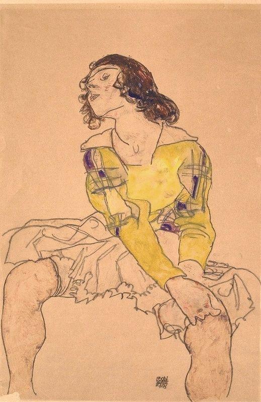 Woman with Yellow Blouse - Egon Schiele 1918 Austrian 1890-1918