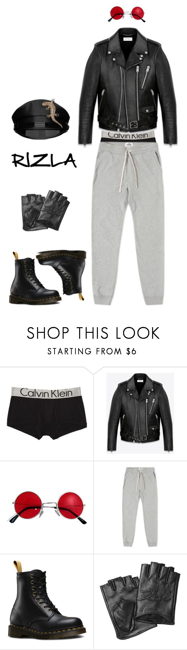 """""""CUNTroversy"""" by rollinrizla ❤ liked on Polyvore featuring Calvin Klein Underwear, Yves Saint Laurent, Reigning Champ, Dr. Martens, Karl Lagerfeld, men's fashion and menswear"""