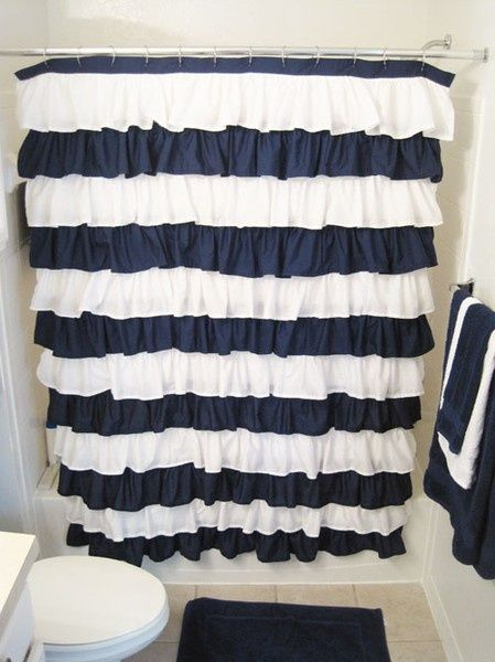 diy ruffle shower curtain…this is SO stinkin cute!!! This would be cute in our kids bath! We have a girl and boy share a bath and the ruffles for her and navy blue for him may work!    followpics.co