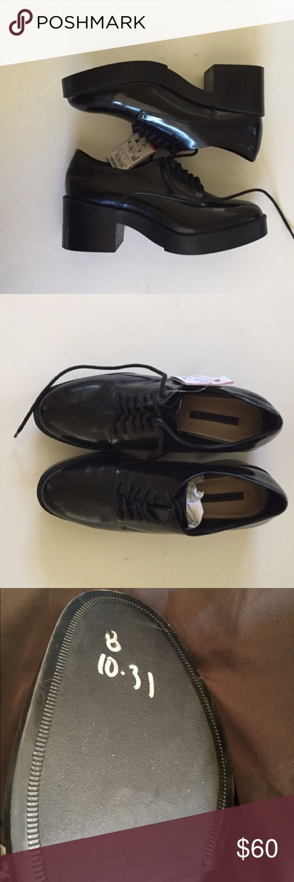 NEW Black leather laced oxfords 9 Never used. No box. Small marking on sole zara  Shoes