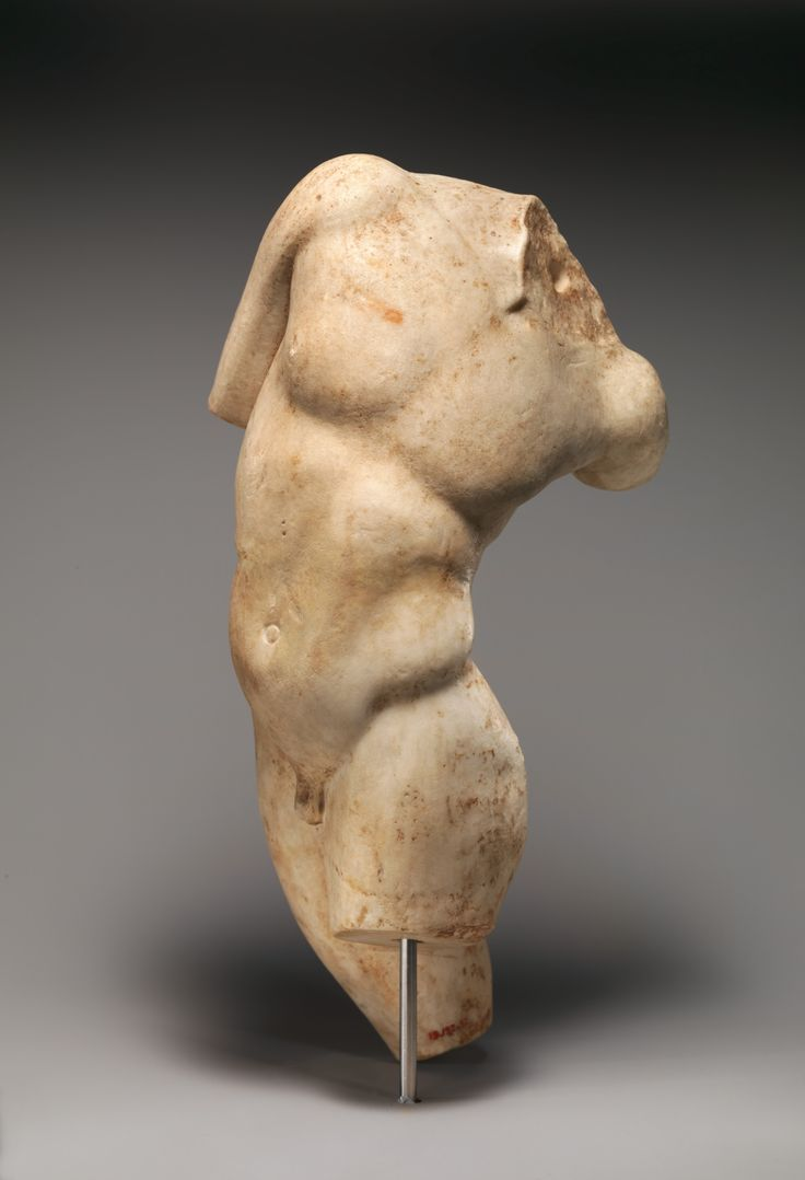 Marble statue of a young satyr turning to look at his tail. Period: Imperial. Date: 1st or 2nd century A.D. Culture: Roman.