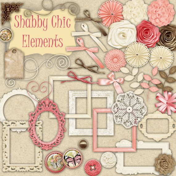 40 PNG Shabby Chic Elements Clipart for Scrapbooking, Crafts, Invitations, Digital Scrapbooking COMMERCIAL USE on Etsy, $3.00