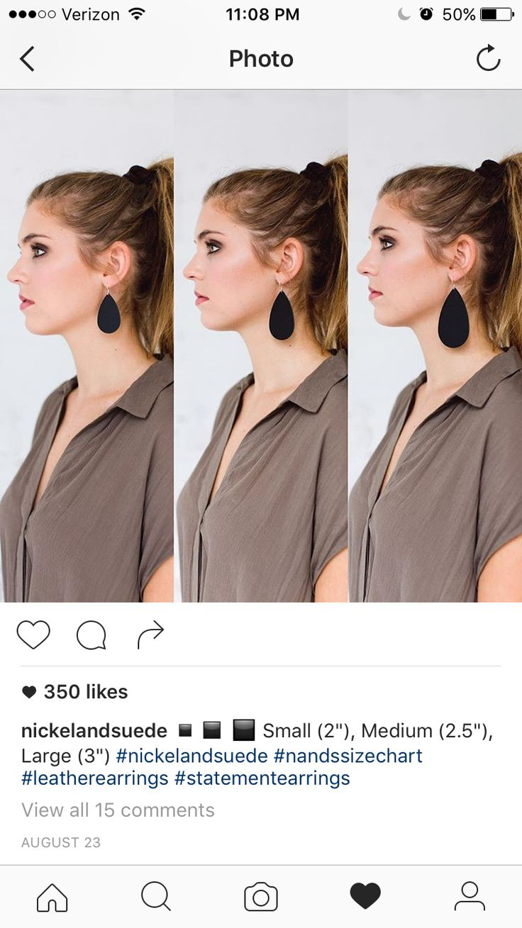 Nickel and Suede leather earrings--size chart
