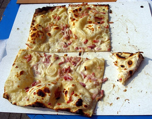 Traditional Flamm Kuchen in Frankfurt (bacon and onion)-a good place to try is Flamms in Bad Homburg-you can get anything from crawfish to apple, which they light on fire.
