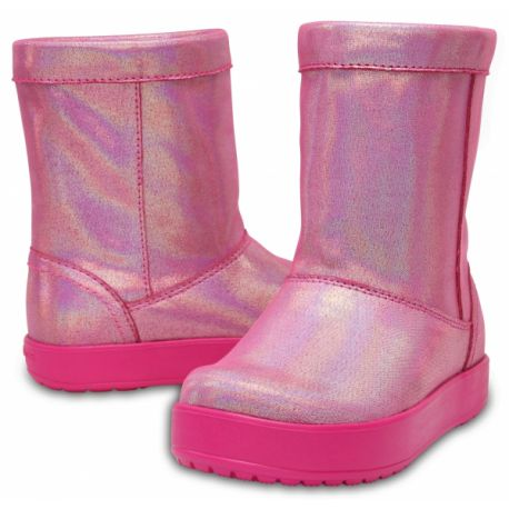 Сапоги розовые перламутр зимние Crocs