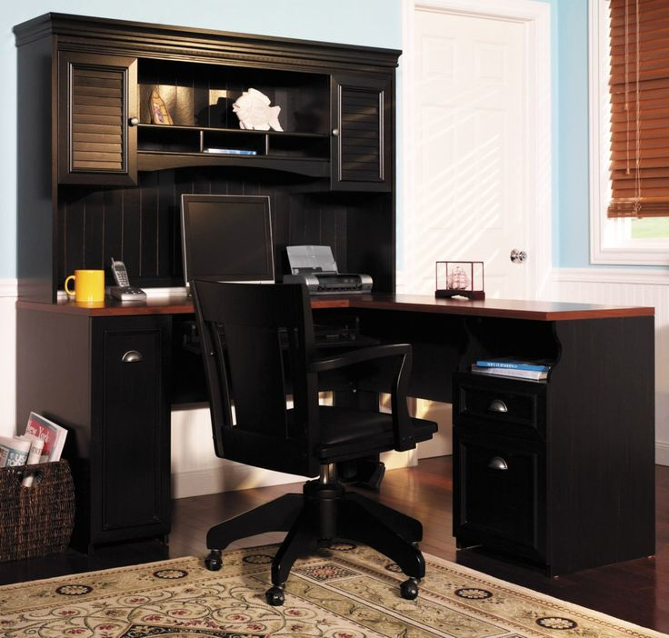 corner computer desk with hutch in black color more