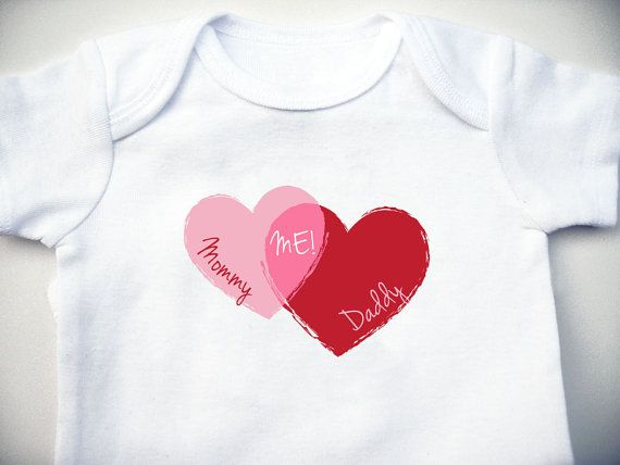 Mommy and Daddy Equals Me Baby Bodysuit - Baby Shower Gift - Baby Clothing - Creeper - Hearts - The Valentine on Etsy, $8.00