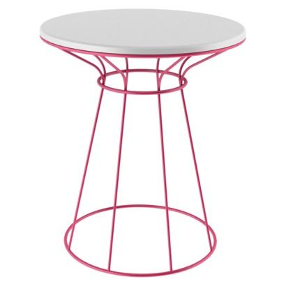 Room Essentials White/Pink Wire Accent Table White/Coral
