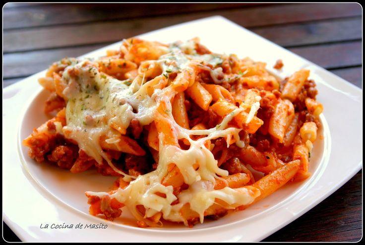 La Cocina de Masito: Macarrones con carne, oregano y mozarella