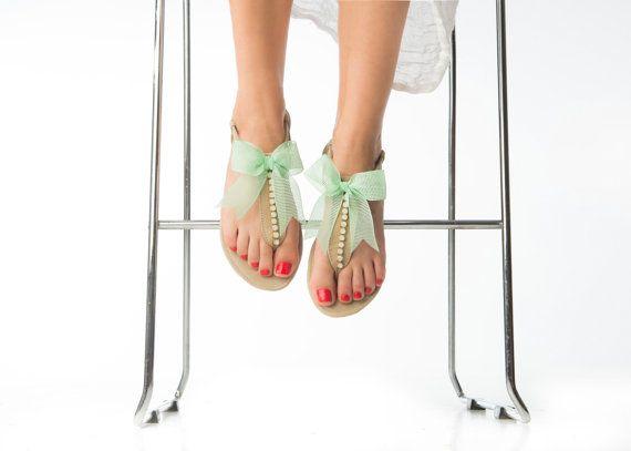 Leather Sandals - Wedding Sandals - Bridesmaid Sandals - Wedding Gift - Swarovski Rhinestones Sandals
