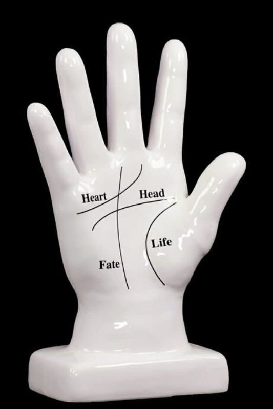 Ceramic Hand Decor W/ Open Palm Showing The Four Life Lin'S White.  Grace Your Home With This Elegant And Unique Sculpture And Let Its Image And Meaning Revitalize And Rejuvenate Your Home. The Ceramic Hand Decor With Open Palm Showing The Four Life Lines ?White Is A Symbolic Representation Of The Four Life Lines ? Heart, Head, Fate And Life. Made From Quality Ceramic, This Elegant Hand Decor Item Will Bestow Good Luck And Fortune. The Dimension Of The Ceramic Hand Decor With Open Pa...