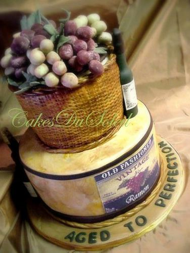 Tuscany styled cake....vintage cheese and wine.