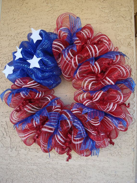 Patriotic Deco Mesh Wreath Arrangement Usa 4th Of By Myhomeflorals 79 99 Wreath Crafts Deco