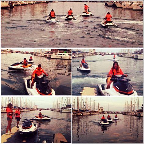Parte de nuestro equipo probando las nuevas motos acuáticas