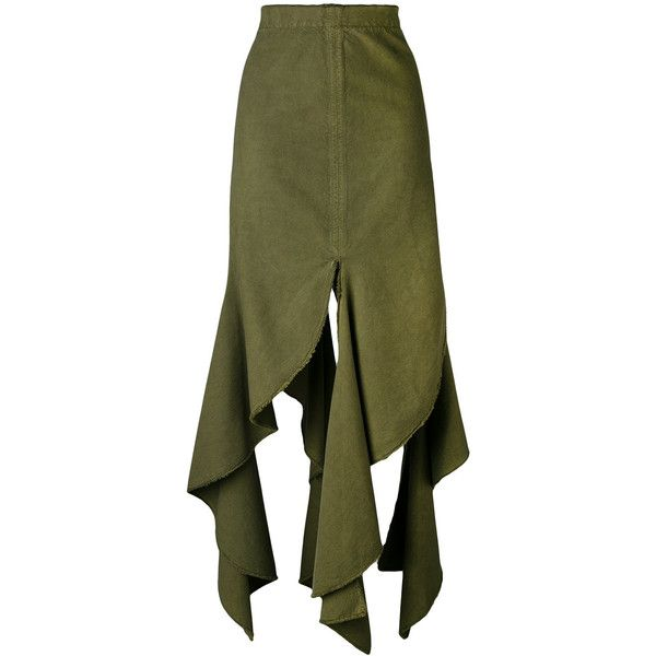 J.W.Anderson frayed hem skirt ($1,055) ❤ liked on Polyvore featuring skirts, green, cotton skirts, green skirt, j.w. anderson and green cotton skirt