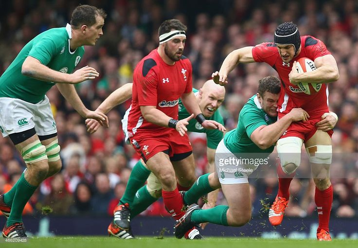 Sam Warburton of Wales is tackled by Jack McGrath of Ireland during the RBS Six Nations match...