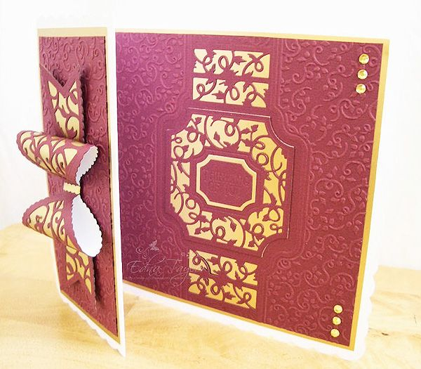 Blog tonic: Gold and Burgundy - a card from Edna