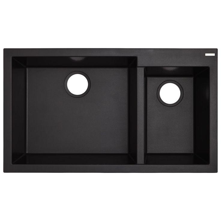 "34"" Halloway Double-Bowl Undermount Granite Composite Sink - Black"