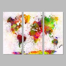 3 Unids Clásica Europa Tipo Acuarela Mundo Mapa Modular de Pared Pintura de la Lona Imagen For Living Room decoration Print Sin Enmarcar(China)