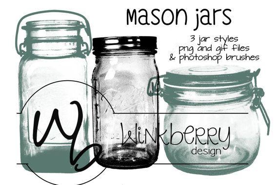 Mason Jar Clip art Photoshop Brushes png gif by WinkberryDesign, $5.00