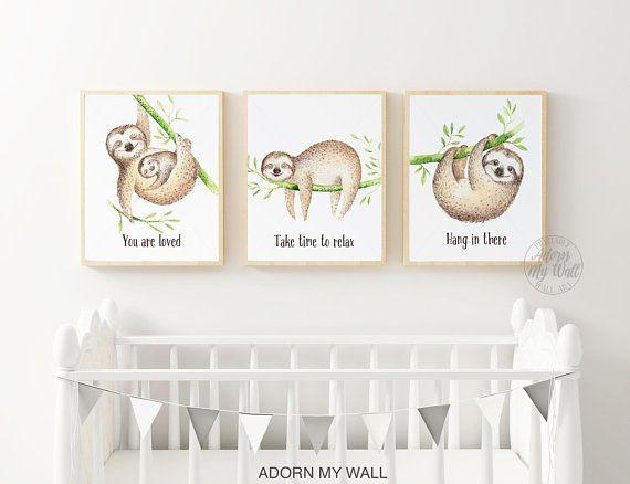 Sloth Prints Wall Art Printable Gift