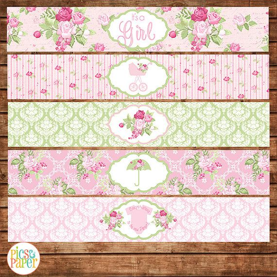 Baby Shower Water Bottle Labels for a Girl in by PicsandPaper