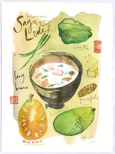 Indonesian recipe original watercolor painting, Coconut milk Sayur Lodeh Vegetable soup, Asian Pacific food, Kitchen art