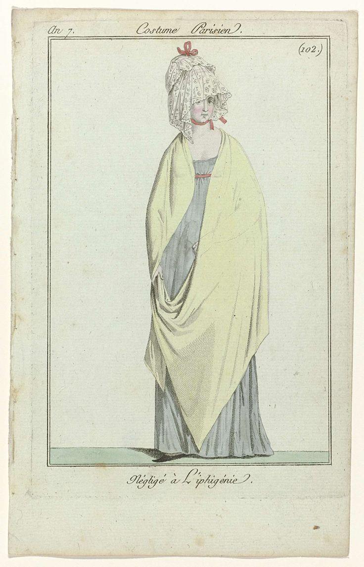 Journal des Dames et des Modes, Costume Parisien, 19 avril 1799, An 7 (102 bis) : Négligé à Líphigénie, Anonymous, 1799