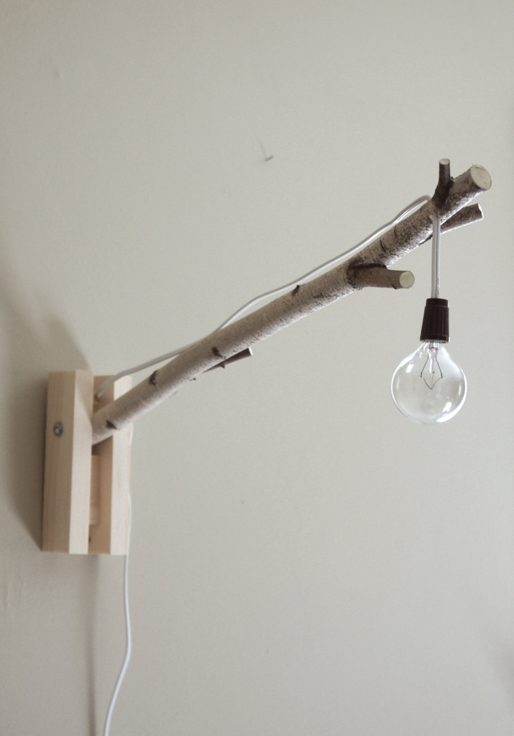 Wall light - exposed bulb woodland wall/desk lamp - natural white birch wood.