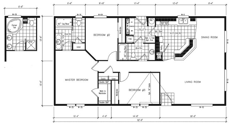 Simple small house floor plans manufactured home floor for Small double wide floor plans
