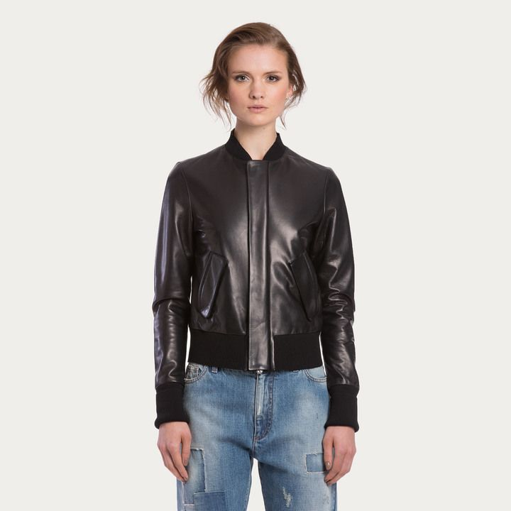 $2,295, Black Leather Bomber Jacket: Bally Lamb Nappa Bomber Jacket Black Nappa Leather Bomber Jacket. Sold by Bally. Click for more info: https://lookastic.com/women/shop_items/260662/redirect