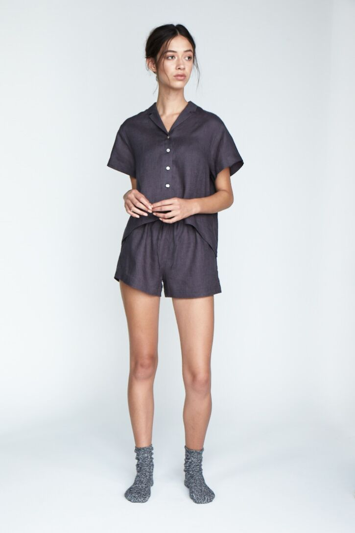 The 'Evie' Shorts in Charcoal - Andrea & Joen French Linen Loungewear Collection shot by Sylve Colless