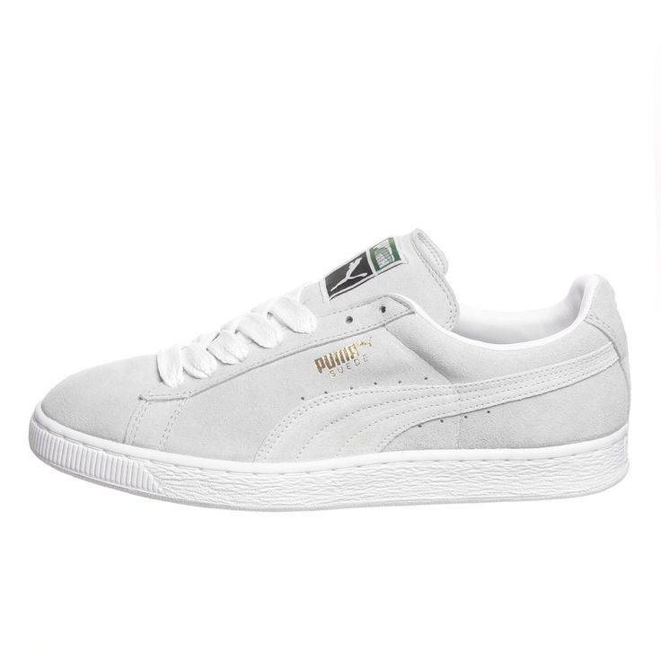 all white pumas suede