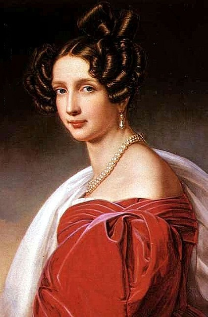 """Sophie, Archduchess of Austria by Joseph Karl Stieler,1832    """"This portrait shows the pleated panels of fabric that trim the gown around the bust and shoulders, and the method of gathering fullness in the large sleeves.""""   http://en.wikipedia.org/wiki/File:Stieler_Archduchess_1832.jpg"""