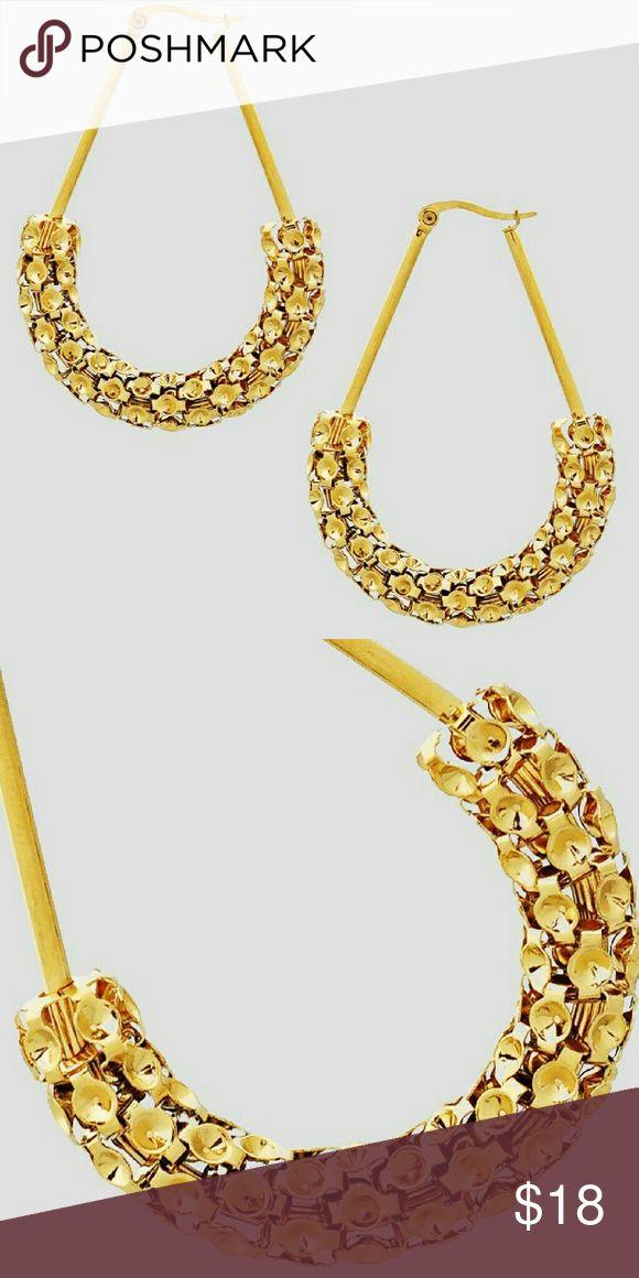 Stainless Steel Teardrop Earrings Stainless Steel U Shape Teardrop Hinged Earwire Earrings  Color : GOLD Size: Length: 2.25inch Jewelry Earrings