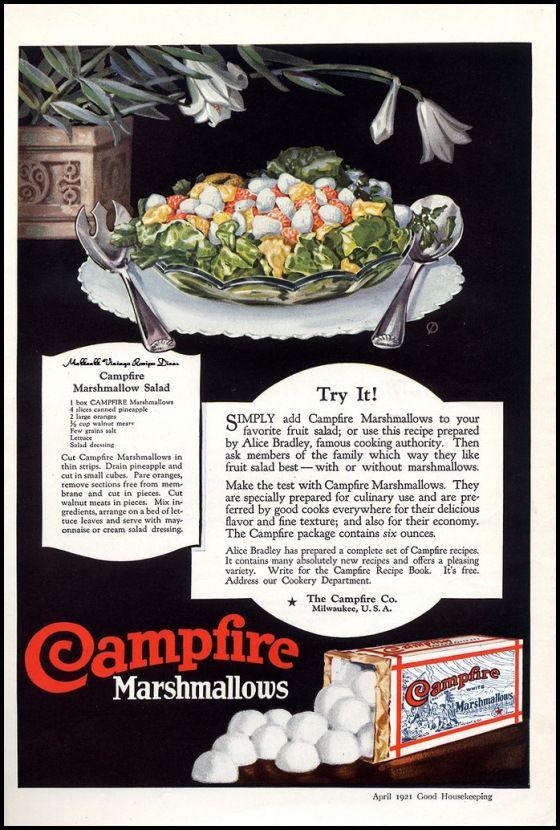 1921 Ad for Campfire Marshmallow~ Marshmallow Salad Recipe