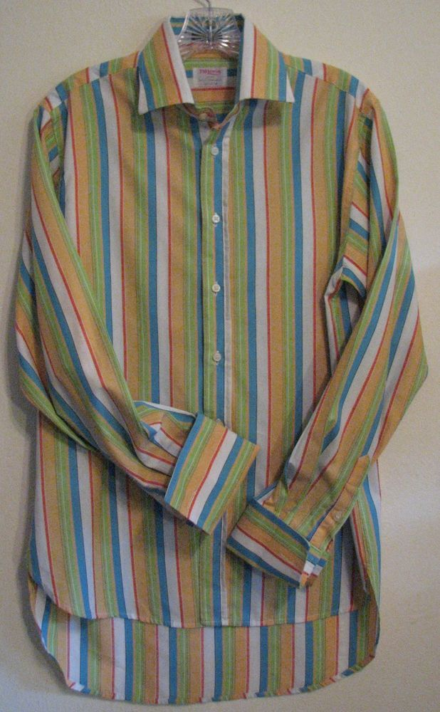 TM LEWIN Multi Colored Striped Med ? Long Sleeve Button Flip French Cuff Shirt  #TMLewin