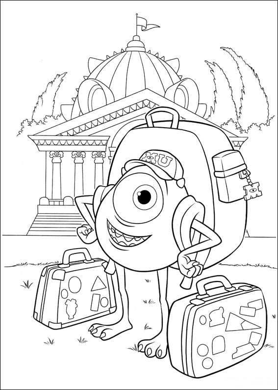 A Monsters University coloring page. Mike Wazowski with suitcases.