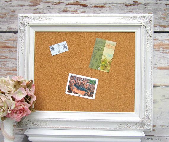 FRAME CORKBOARD DECORATIVE Memo Board White Shabby Chic Home Message French Country Kitchen Organizer Bridal Gift
