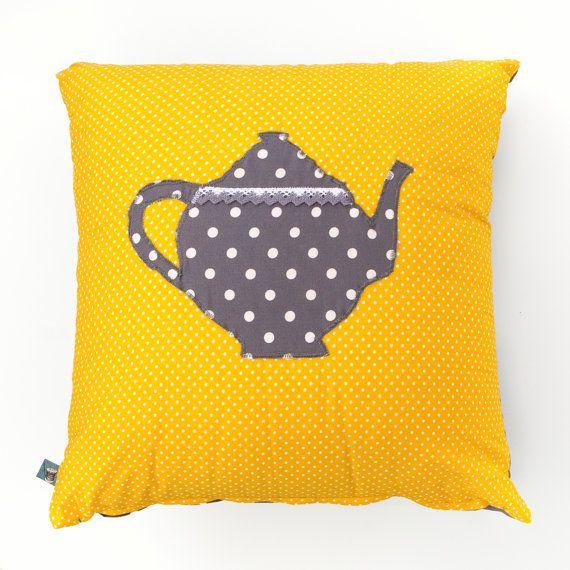 Yellow Cushion with a Polka Dot Teapot